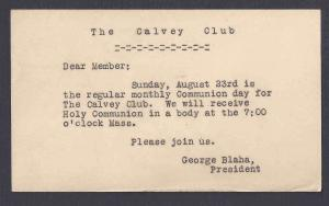 1942 THE CALVEY CLUB OFFICERS MONTHLY  HOLY COMMUNION DAY CLEVELAND OH