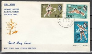 Fiji, Scott cat. 226-228. 2nd So. Pacific Games issue. First day cover. ^