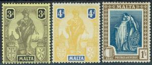 MALTA 1922 FIGURE 3D 4D AND 1/-