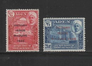 ADEN-SHIHR & MUKALLA #12-13  1946  VICTORY ISSUE   MINT VF LH  O.G