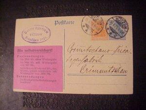 1921 PRE PAID GERMAN POST CARD GUSTAV RAMCLAW BUTZOW EINKAUFHAUS BERLIN