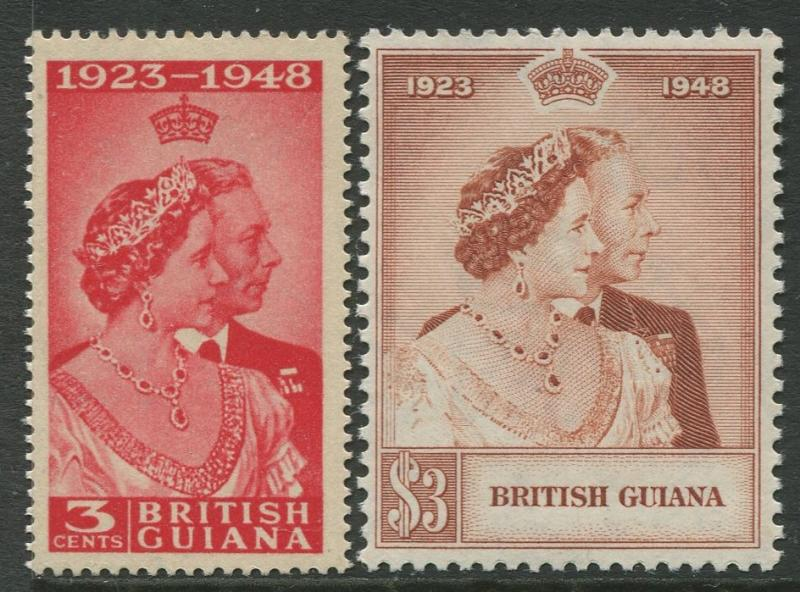 Brit. Guiana - Scott 244-245 -  Silver Wedding Issue-1948 -MNH - Set of 2 Stamps