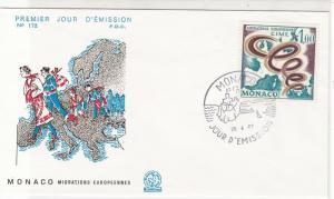 Monaco 1967 European Migrations Migrants Picture FDC Stamp Cover Ref 26396