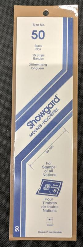 Stamp Mounts Supplies Showgard #50 New 15 strips 50mm by 215mm Black background
