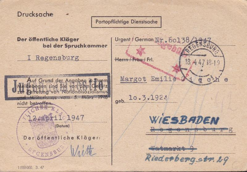 Germany Post War Postal History Lot. 3 Items Missing Persons Search Red Cross