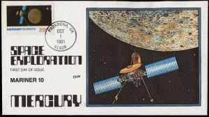 Collins Handpainted FDC Space Exploration: Mercury Mariner 10 (10/1/1991)