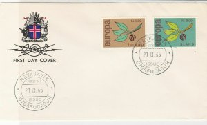 Europa Iceland 1965 Reykjavik Cancels Crest Pic Branch FDC Stamps Cover Ref25986