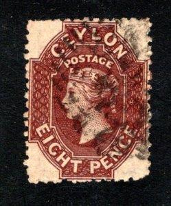 Ceylon #54,  F/VF, Used, Wmk. 1a, CV $80.00 ....  1290038