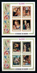 [99214] Burundi 1968 Christmas Paintings Madonna w Child 2 Imperf. Sheets MNH