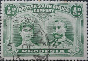Rhodesia Double Head HalfPenny with HARTLEY Day Month (SC) postmark
