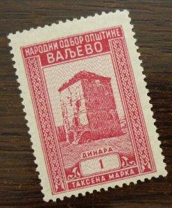 Yugoslavia Serbia VALJEVO Local Revenue Stamp 1 Dinara  CX14