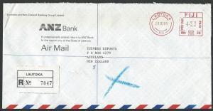 FIJI 1991 Registered cover to NZ, ex LAUTOKA, ANZ Bank meter...............13246