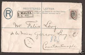 Malta Sc 37 uprates H&G C3 1908 Registered Entire