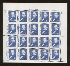 Full Sheet of 20 American Johns Hopkins $1 US Stamps #2194e Brookman Price $195