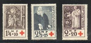 Finland Sc B12-14 1933 Red Cross charity stamp set mint
