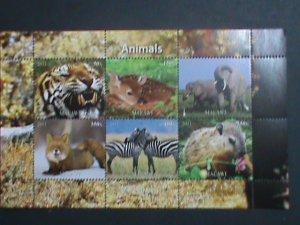 MALAWI-2011 ENDANGER ANIMALS-LOVELY ZEBRA-TIGER-DEER -ELEPHANTS-ECT. -MNH S/S