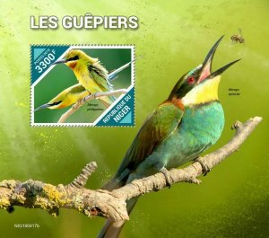 Z08 IMPERF NIG190417b NIGER 2019 Bee-eaters MNH ** Postfrisch