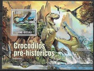 Guinea-Bissau MNH S/S Prehistoric Crocodiles