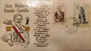 O) 1967 PERU, MARSHAL RAMON CASTILLA,  ABOLITION OF SLAVERY, FDC XF