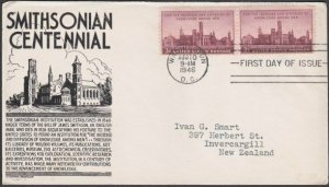USA 1946 SMITHSONIAN - C Stephen Anderson FDC to New Zealand................M467