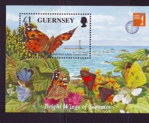 Guernsey Sc 590 1997 Butterflies stamp sheet mint NH