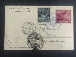 1932 Lichtenstein Graf Zeppelin LZ 127 Postcard cover to Switzerland # C6 C2