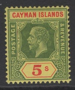 CAYMAN ISLANDS SG51 1914 5/= GREEN & RED/YELLOW MTD MINT