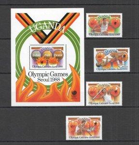 M0552 1988 UGANDA OLYMPIC GAMES SEOUL 1988 MEDALS WINNERS #587-90 SET+BL MNH