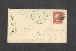 May 3 1865 U.S.S. Metacomet Blockade Ship Union Cover Wintrop ME Civil War