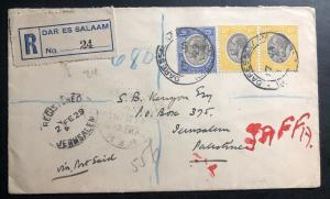 1929 Dar Es Salaam Tanganyika Registered Cover to Jerusalem Palestine Via Egypt