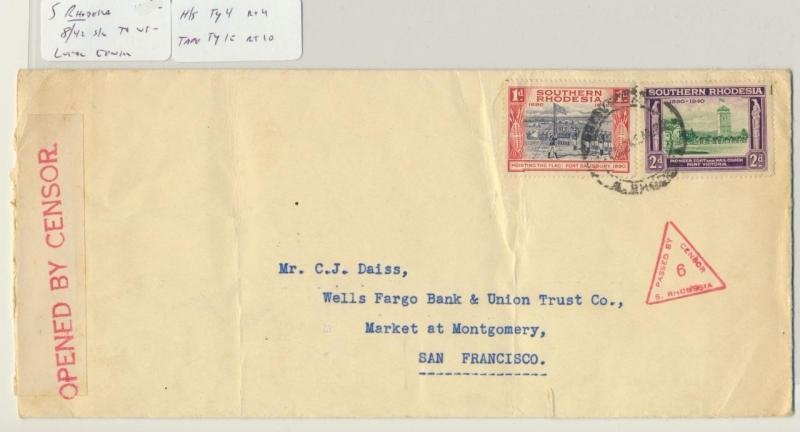 SOUTHERN RHODESIA 1942 CENSOR(#6) COVER TO USA, TAPE Ty1e, 3d RATE (SEE BELOW)