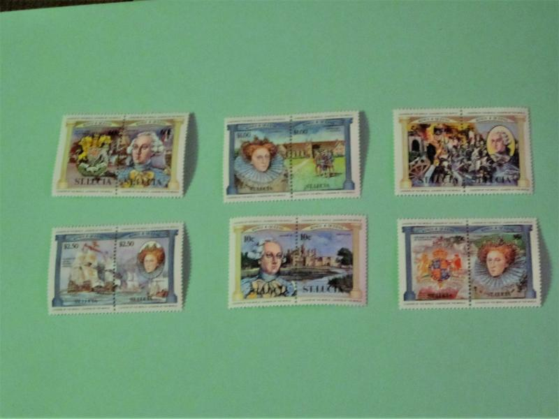St. Lucia - 633-38, MNH Set. Battle of Waterloo; King George III. SCV - $3.50