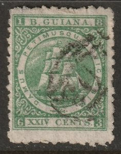 British Guiana 1866 Sc 68a used green with papermaker's watermark