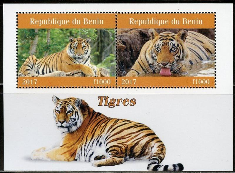 BENIN 2017  TIGERS SET OF TWO SHEETS OF TWO MINT NH