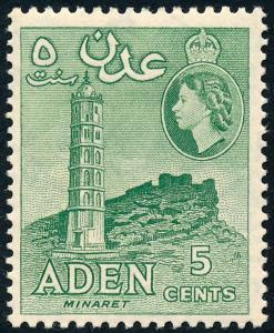 Aden 1953 5c Yellowish Green SG48 MH