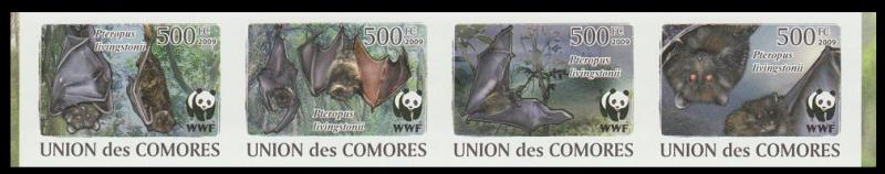 Comoro Is. WWF Livingstone's Fruit Bat Strip of 4 imperforated stamps