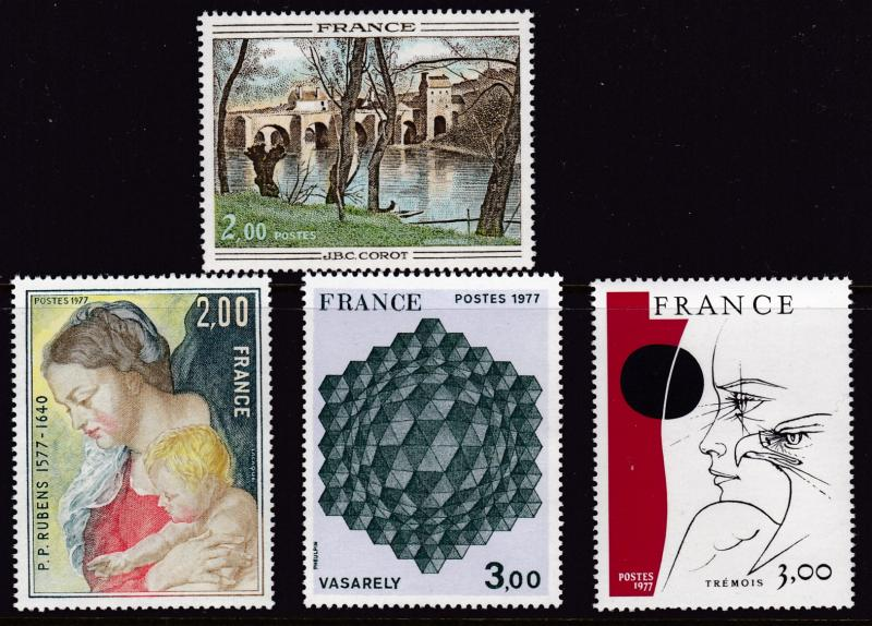France 1977 ART Complete (4) Head Eye & Eagle by Pierre Yves Tremois VF/NH