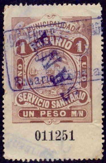 Rosario Argentina 1905 1P Hooker Tax Stamp w/ inverted Sana line handstamp