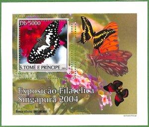 A0547 - S. TOME' & PRINCIPE -  ERROR  MISSPERF SHEET -  Butterflies  2004