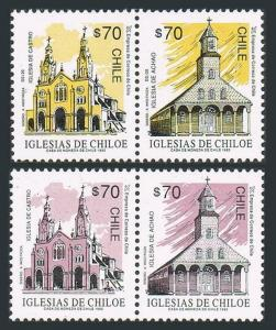 Chile 1036-1039a pairs,MNH.Michel 1542-1545. Churches,1993.Achao,Castro.