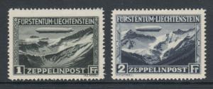 Liechtenstein Sc C7-C8 MLH. 1931 Zeppelin Over Mountains, complete set, fresh