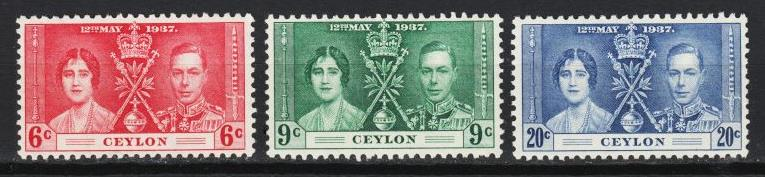 Ceylon - 1937 Coronation  Issue Sc# 275/277 - MLH (4507)