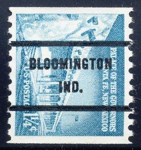 Bloomington IN, 1054A-71 Bureau Precancel, 1¼¢ coil Palace of Governors