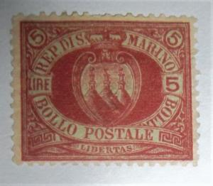 1894 SAN MARINO SCOTT #24 MINT HINGED, 5 LIRA HIGH CAT Free US Shipping