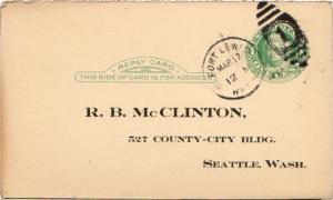 United States Washington Fort Lewis 1928 numeral duplex  Postal Card.