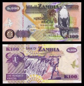 ZAMBIA 2006, 100 KWACHA BANKNOTE CRISP UNCIRCULATED PAPER MONEY KP CAT #38f
