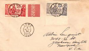 Togo 1.25F and 2.25F New York World's Fair 1939 Lome, Togo to Jackson Heights...