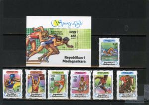 MADAGASCAR 1994 Sc#1264-1271 SPORTS SET OF 7 STAMPS & S/S MNH