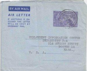 Trinidad 12c Town Hall San Fernando Air Letter 1954 G.P.O. Port-of-Spain, Tri...