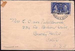 SINGAPORE STRAITS SETTLEMENTS 1937 12c Coronation on cover to USA..........34578